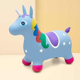 Creative Blue Unicorn Shape PVC Material Kids Toy Jumping Horse