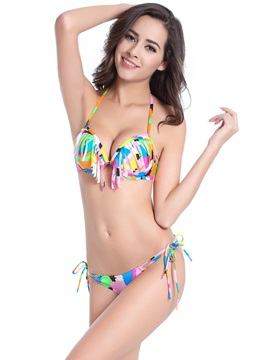 Color Blocks and Camouflage Tassels Lovely Two-piece Bikini