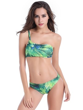 Retro Floral Tropical One Shoulder Two-piece Bikini Set