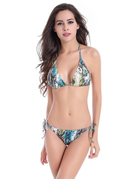 Floral Women Halter Two-Piece Swimwear Bikini Set