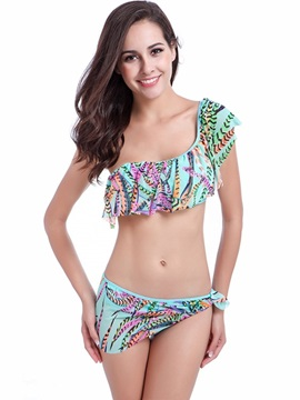 One Shoulder Ruffle Flounce Two-Piece Bikini Set