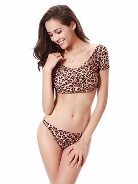 Leopard Pattern Sleeved Two-piece Bikini