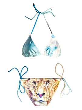Sky and Lion Two-Piece Halter 3D Painted Bikini Set