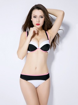 Contrasting Color Free Wire Beach Wear with Falsies Sexy Push Up Bikini Set