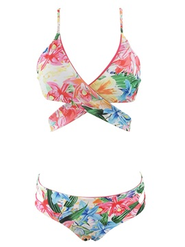 Two Piece Bikini Bathing Suit Floral Printed Padded Sexy Swimsuits for Women