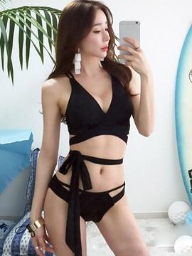 Two-Piece Swimsuit Women Bandage Push-up Swimwear Wrap Bikini Set