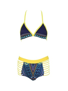 Hollow Out Women Vintage Two-Piece High Waisted Swimwear Bikini Set