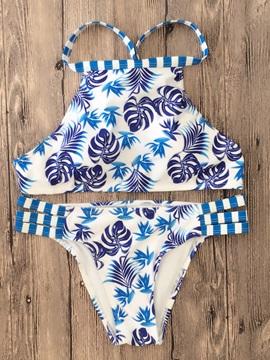Women Floral Bandage Two-Piece Halter Swimwear Bikini Set