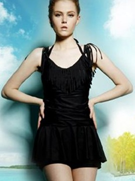 Fashion Fringe Ruffle Design One-piece Swimsuit