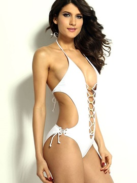 Sexy Straps And Metal Pieces Mix Front Open Sides Monokini