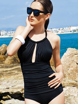 1 Piece Open Cleavage Round Neck Monokini