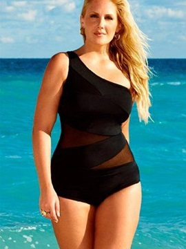 Black Women One Shoulder Swimwear Hollow Monokini