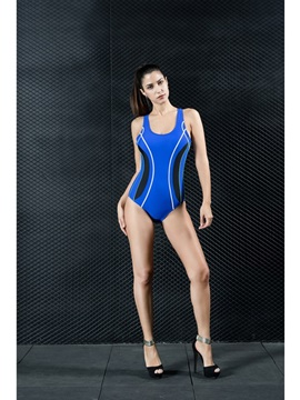 One Piece Tummy Control Modest All Seasons Blue Women's Swimwear