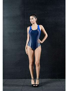 Color Block Sleeveless Tummy Control Black Women's Swimwear