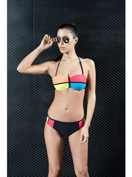 Sport Low Waisted Color Block Bikini Women's Swimwear