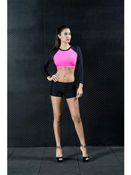 Modest Sporty Takini Long Sleeve Pink Blue Women's Swimwear