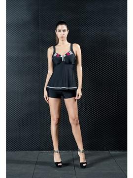 Retro Tight Comfortable One Piece Modest Blue Black Women' s Swimwear