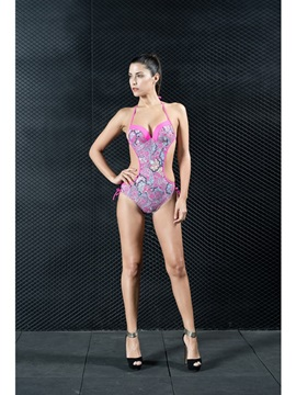 Bohemian Printed Cut Out Sexy Bikini One Piece Pink Women' s Swimwear