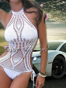 Crochet Backless Tight Sexy Knitting Bikini Set Bathing Suit One Piece