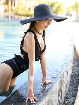Lace V Neck Backless Sexy Black One Piece Tight Sleeveless Women's Swimwuit