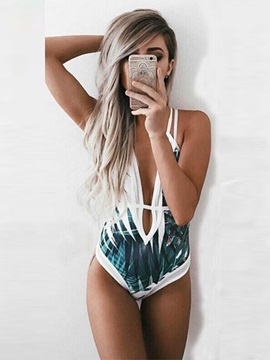 Deep-V Women Printing One Piece Backless Swimwear Monokini
