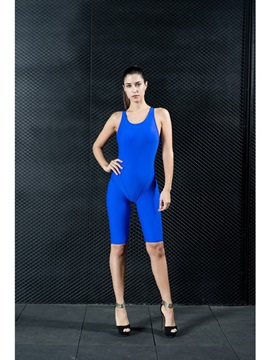 Sexy Tight Backless One Piece Blue Black Women' s Swimwear