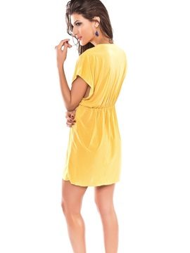 Female Yellow Spandex Swimwear Deep V-Nect Beach Cover-ups