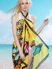 Chiffon Butterfly Beach Dress Sarong Cover Up