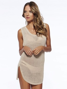 V-neck Women Beach Dress Crochet Knitted Cover Up