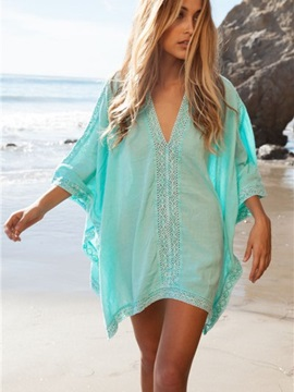 Light Blue Deep V-Neck Loose Fit Style Hoolow Cover-ups