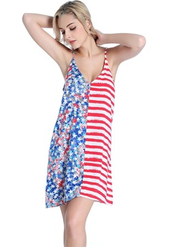 Strips and Stars Deep V-neck Swimwear Free Wire One-piece Tankini