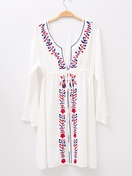 Women's Robe Beach Dress Swimsuit Embroidery Bikini Cover Up