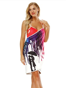 Multi-color Pattern Rectangle Silhouette Polyester Material Beach Shawl