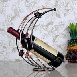 Creative Moon-shape with Leaves Wrought Iron Artware Wine Rack