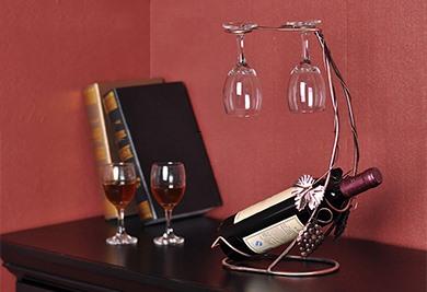 Elegant Grape Vine Wine Rack with Two Wine Glass Holders