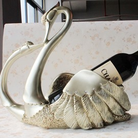 Romantic Swan Pairs Resin 1-Bottle Wine Rack Bottle Holder