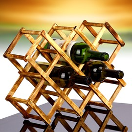 Creative Classic Foldable Wood 10-Bottle Wine Rack