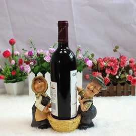 Creative Farmer Couple Carrying Basket Resin Wine Rack