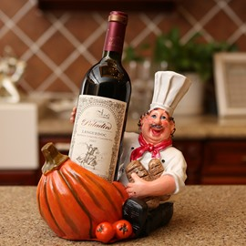 Creative Chef and Pumpkin Design Resin Wine Rack