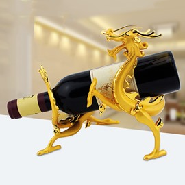 Creative Dragon Design Alloy Gold-Plated Wine Rack
