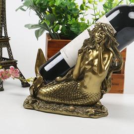 Elegant Resign Mermaid European Style Desktop Decoration Wine Rack