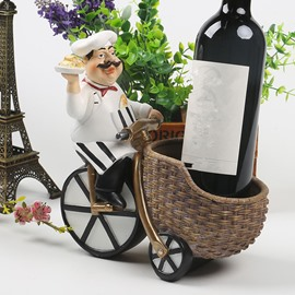 Lovely Resin Chef Riding a Bike Design Home Decorative Wine Rack