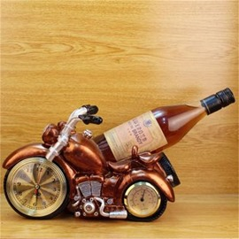 Creative and European Retro Motorcycle Clock Table Decoration Wine Holder