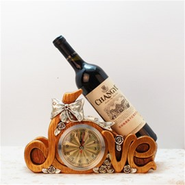 European Retro Clock Resin Delicate Desk Decoration Red Wine Holder