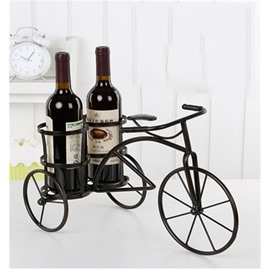 Simple and Elegant Style Bicycle Design Iron Home Decorative Wine Rack