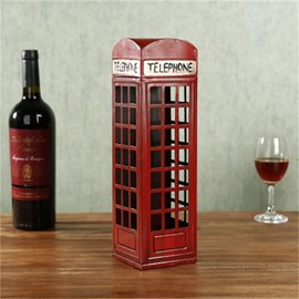 Elegant And Retro Style Telephone Box Design Iron Home Decorative Wine Rack