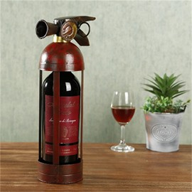 Crative and Retro Style Extinguisher Design Iron Home Decorative Wine Rack