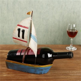 Unique and Retro Style Sailing Boat Design Iron Home Decorative Wine Rack