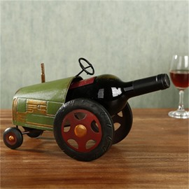 Crative and Retro Style Tractor Design Iron Home Decorative Wine Rack