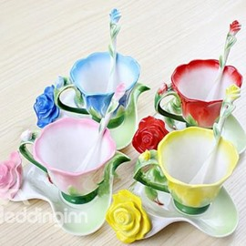 New Arrivals Hot Sell Creative Enamel Multipurpose Red/Pink/Blue/Yellow Roses Coffe Cups